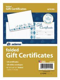 8 Bulk Adams Card, Folded Gift Certificate, 20 Cards And Envelopes Per Pack