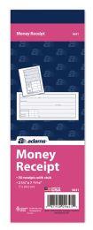 """60 Bulk Adams Money Receipt Book, 1-Part With TeaR-Off Stub, 2-3/4"""" X 7-15/16"""", 50/bk"""