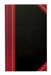 """4 Bulk Adams Record Book, Black Cover, Maroon Spine, 11-5/8"""" X 7-1/4"""", 300 Pages,"""