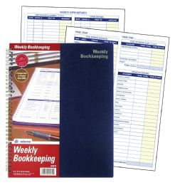 "12 Bulk Adams Weekly Bookkeeping Record Book, Spiral Bound, 8-1/2"" X 11"""