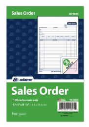 "8 Bulk Sales Order Book, 3-Part, Carbonless, 5-2/3"" X 8-1/2"", 100/pk"