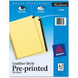 Bulk Avery A-Z Gold Line Black Leather Tab Divider