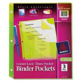 120 Bulk Avery Corner Lock Three Pocket Binder Pockets 75312, Assorted, Pack Of 3