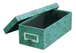 "6 Bulk GlobE-Weis Fiberboard Index Card Storage Boxes, 5"" X 8"" Card Size, Green, Agate"