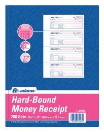 5 Bulk Hardbound Receipt Book, 3-Part, Carbonless, 4/pg, 200 St/bk