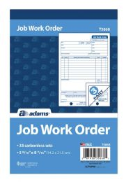 10 Bulk Job Work Order Book, 3-Part, Carbonless, 33 St/bk