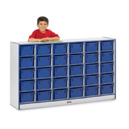 Bulk Rainbow Accents 30 CubbiE-Tray Mobile Storage - With Trays - Blue