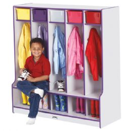 Bulk Rainbow Accents 5 Section Coat Locker With Step - Teal