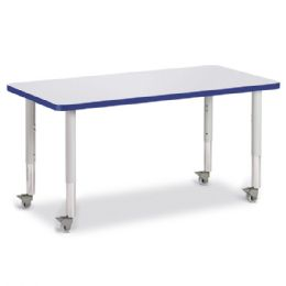 "Bulk Berries Rectangle Activity Table - 24"" X 48"", Mobile - Gray/blue/gray"