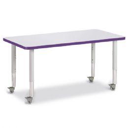 "Bulk Berries Rectangle Activity Table - 24"" X 48"", Mobile - Gray/purple/gray"