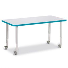 """Bulk Berries Rectangle Activity Table - 24"""" X 48"""", Mobile - Gray/teal/gray"""