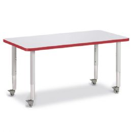 """Bulk Berries Rectangle Activity Table - 24"""" X 48"""", Mobile - Gray/red/gray"""