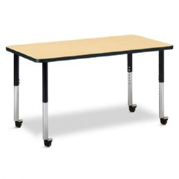 "Bulk Berries Rectangle Activity Table - 24"" X 48"", Mobile - Maple/black/black"