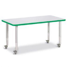 "Bulk Berries Rectangle Activity Table - 24"" X 48"", Mobile - Gray/green/gray"