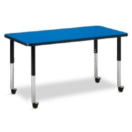 "Bulk Berries Rectangle Activity Table - 24"" X 48"", Mobile - Blue/black/black"