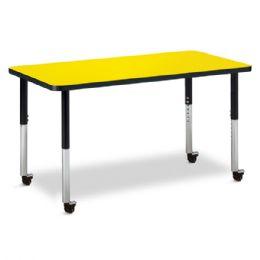 "Bulk Berries Rectangle Activity Table - 24"" X 48"", Mobile - Yellow/black/black"