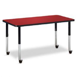 "Bulk Berries Rectangle Activity Table - 24"" X 48"", Mobile - Red/black/black"