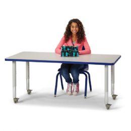 "Bulk Berries Rectangle Activity Table - 30"" X 60"", Mobile - Gray/blue/gray"