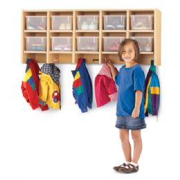 Bulk Maplewave 10 Section Wall Mount Coat Locker - With Clear CubbiE-Trays