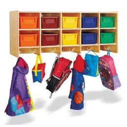 Bulk JontI-Craft 10 Section Wall Mount Coat Locker - With Colored Trays