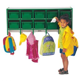 Bulk Rainbow Accents 10 Section Wall Mount Coat Locker - With Trays - Green
