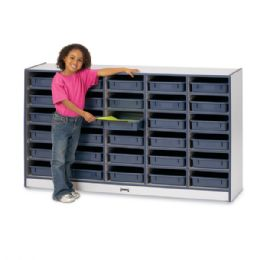 Bulk Rainbow Accents 30 PapeR-Tray Mobile Storage - With PapeR-Trays - Blue