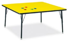 """Bulk Berries Square Activity Table - 48"""" X 48"""", A-Height - Yellow/black/black"""