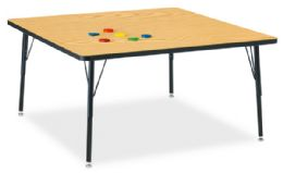 "Bulk Berries Square Activity Table - 48"" X 48"", A-Height - Oak/black/black"