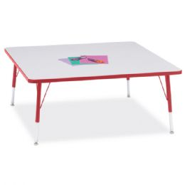 """Bulk Berries Square Activity Table - 48"""" X 48"""", E-Height - Gray/red/red"""