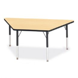 "Bulk Berries Trapezoid Activity Tables - 30"" X 60"", E-Height - Maple/black/black"