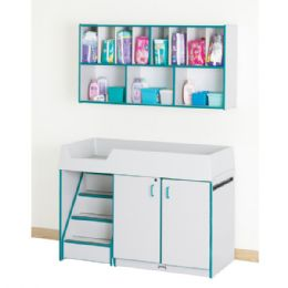 Bulk Rainbow Accents Diaper Changer With Stairs - Left - Teal