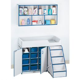 Bulk Rainbow Accents Diaper Changer With Stairs - Right - Blue