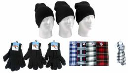 540 Bulk Adult Beanie Knit Hats, Magic Gloves, And Checkered Scarves Combo Packs