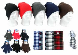 8820 Bulk Adult Beanie Knit Hats, Magic Gloves, And Checkered Scarves Combo Packs