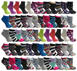 60 Bulk Assorted Pack Of Womens Low Cut Printed Ankle Socks Many Prints Assorted