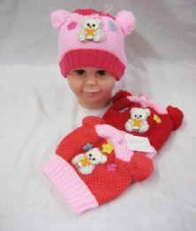 72 Bulk Baby Girls Beanie Hat With Pompom