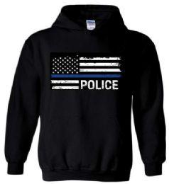 12 Bulk Black Hoody Blue Line Police