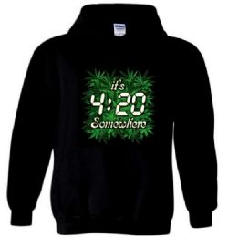 6 Bulk Black Hoody T-shirt 4:20 Plus Size