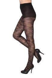 24 Bulk Black Sheer Animal Stripe Beverly Rock Tights Queen Size