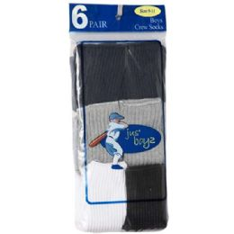 36 Bulk Boy's Crew Socks Assorted Size 9-11