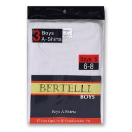 24 Bulk Boys Bertelli 2 Pack White A-Shirts Size Medium