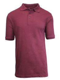 36 Bulk Boys Cotton Blend Short Sleeve School Uniform Polo Shirt - Solid Burgundy Size 12