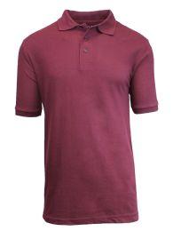 36 Bulk Boys Cotton Blend Short Sleeve School Uniform Polo Shirt - Solid Burgundy Size 14