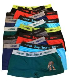 252 Bulk Boys Seamless Boxer Shorts Assorted Color In Large