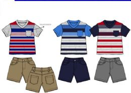 36 Bulk Boys Twill Short Sets 3 Colors Size 2-4t