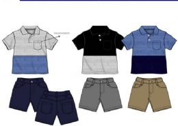 36 Bulk Boys Twill Short Sets 3 Colors Size 2-4 T