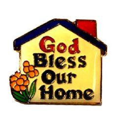 "96 Bulk Brass Hat Pin, ""god Bless Our Home"""