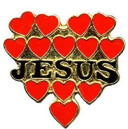 """96 Bulk Brass Hat Pin, """"jesus"""" Hearts"""