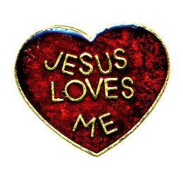 "96 Bulk Brass Hat Pin, ""jesus Loves me"
