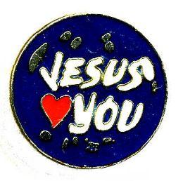 "96 Bulk Brass Hat Pin, ""jesus (loves) You"